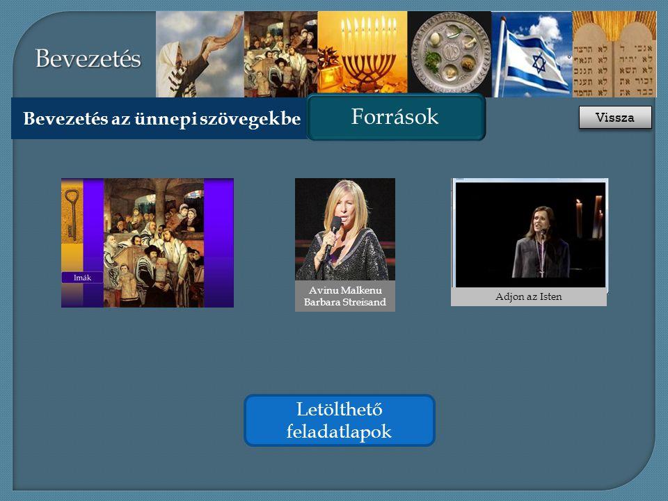 Bevezetés az ünnepi szövegekbe Források Adjon az Isten Letölthető feladatlapok Avinu Malkenu Barbara Streisand Vissza