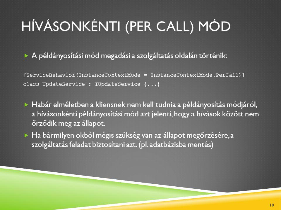 HÍVÁSONKÉNTI (PER CALL) MÓD  A példányosítási mód megadási a szolgáltatás oldalán történik: [ServiceBehavior(InstanceContextMode = InstanceContextMod