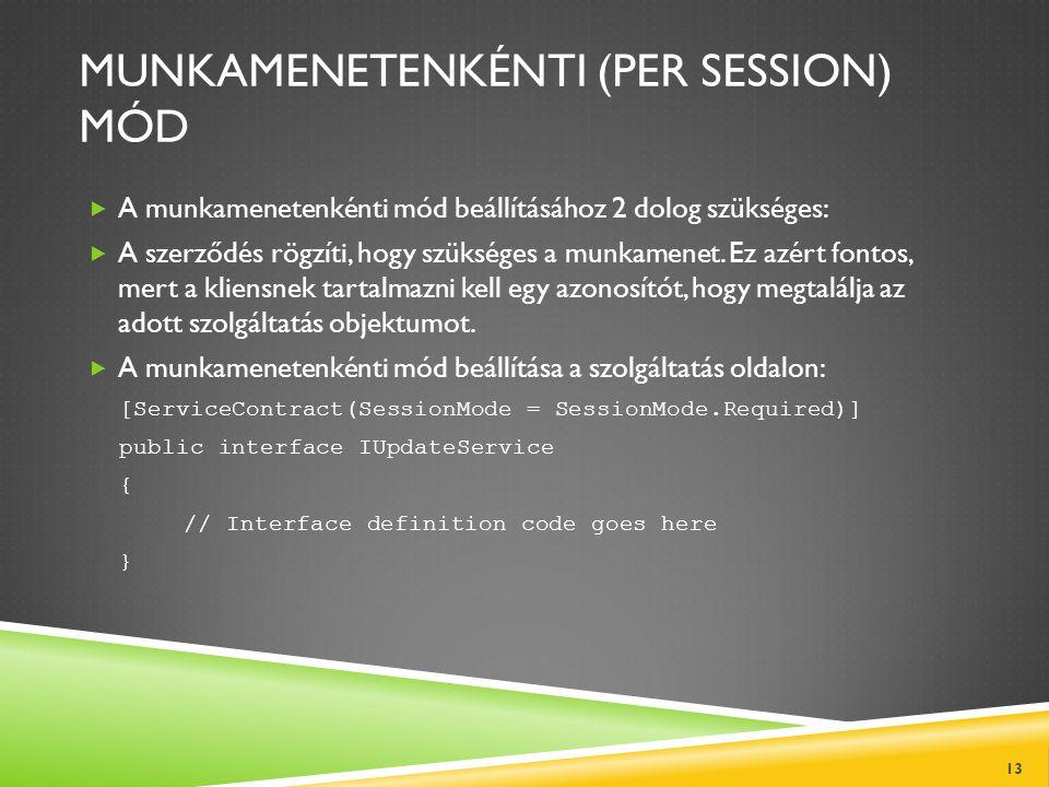 MUNKAMENETENKÉNTI (PER SESSION) MÓD  A munkamenetenkénti mód beállításához 2 dolog szükséges:  A szerződés rögzíti, hogy szükséges a munkamenet. Ez