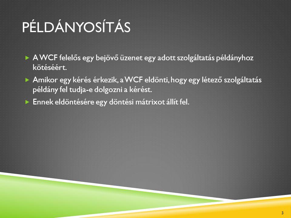 PÉLDÁNYOSÍTÁS  A WCF felelős egy bejövő üzenet egy adott szolgáltatás példányhoz kötéséért.  Amikor egy kérés érkezik, a WCF eldönti, hogy egy létez