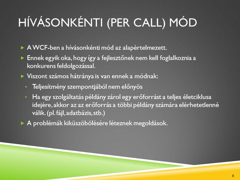 HÍVÁSONKÉNTI (PER CALL) MÓD  A WCF-ben a hívásonkénti mód az alapértelmezett.  Ennek egyik oka, hogy így a fejlesztőnek nem kell foglalkoznia a konk