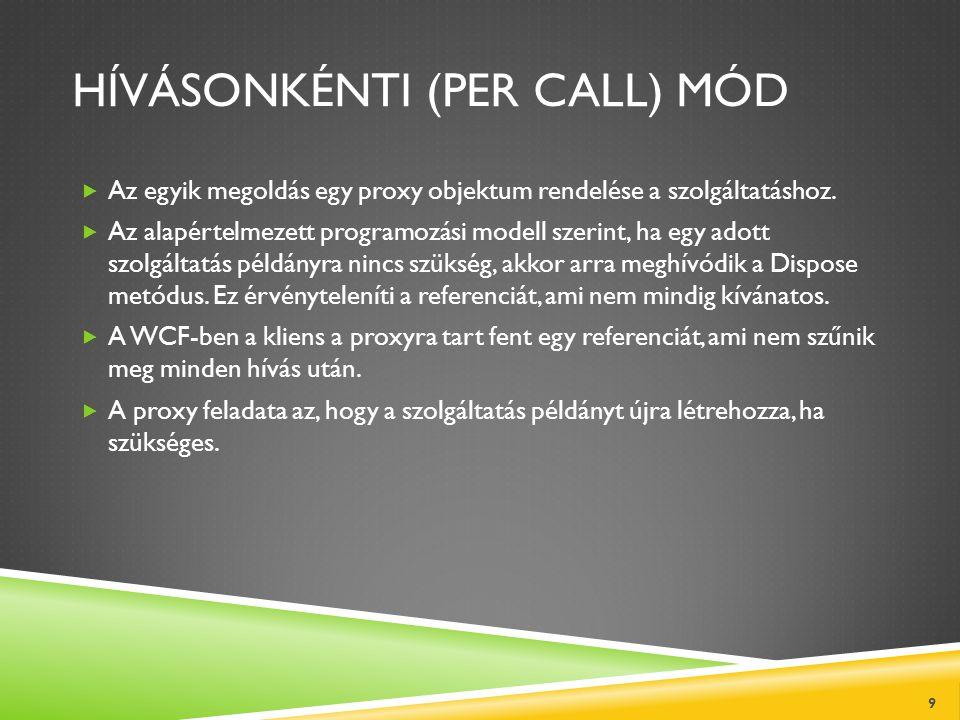 HÍVÁSONKÉNTI (PER CALL) MÓD  Az egyik megoldás egy proxy objektum rendelése a szolgáltatáshoz.  Az alapértelmezett programozási modell szerint, ha e