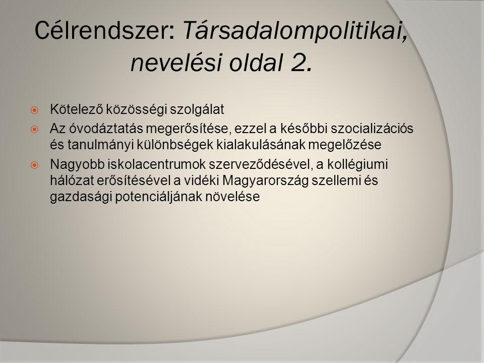 Célrendszer: Társadalompolitikai, nevelési oldal 2.  Kötelező közösségi szolgálat  Az óvodáztatás megerősítése, ezzel a későbbi szocializációs és ta