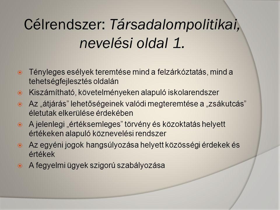 Célrendszer: Társadalompolitikai, nevelési oldal 1.  Tényleges esélyek teremtése mind a felzárkóztatás, mind a tehetségfejlesztés oldalán  Kiszámíth