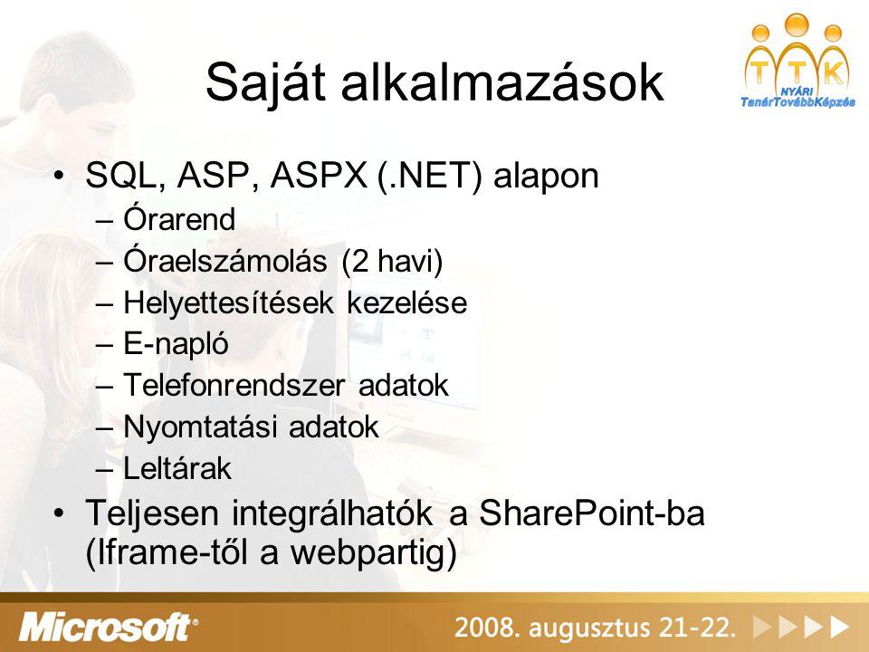 Saját alkalmazások •SQL, ASP, ASPX (.NET) alapon –Órarend –Óraelszámolás (2 havi) –Helyettesítések kezelése –E-napló –Telefonrendszer adatok –Nyomtatá