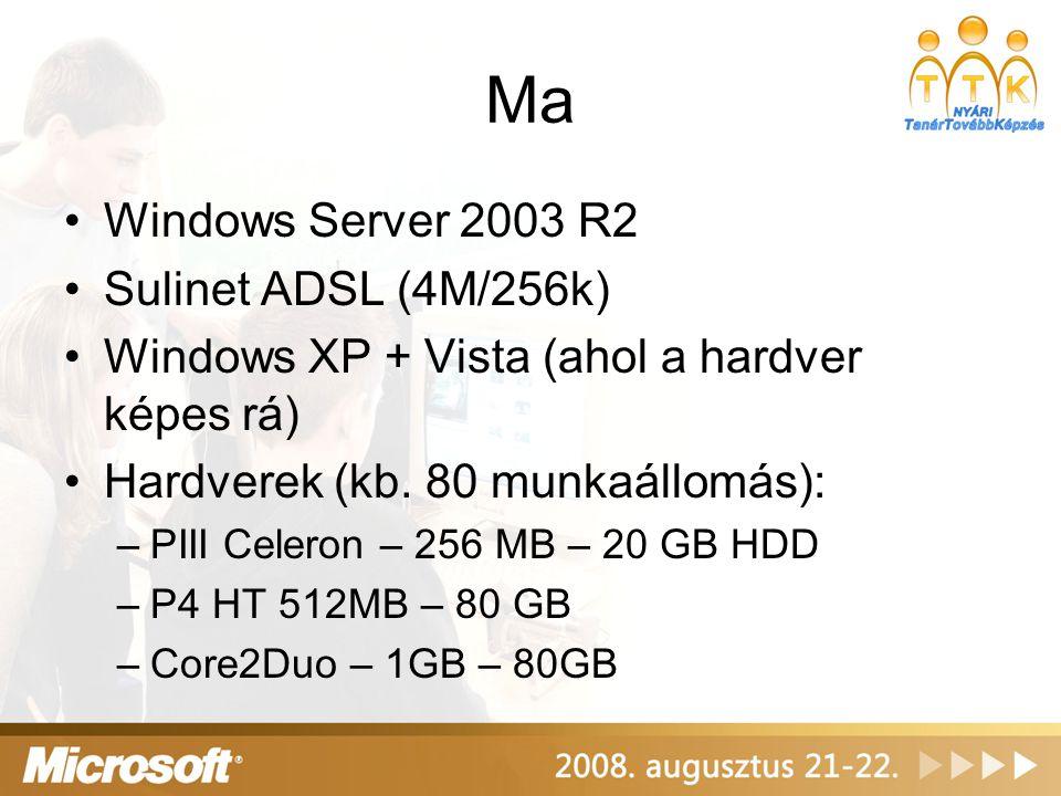 Végül - ami még bevált •Windows SteadyState (XP és Vista is) – hogyan tartsuk kézben a gépeket.