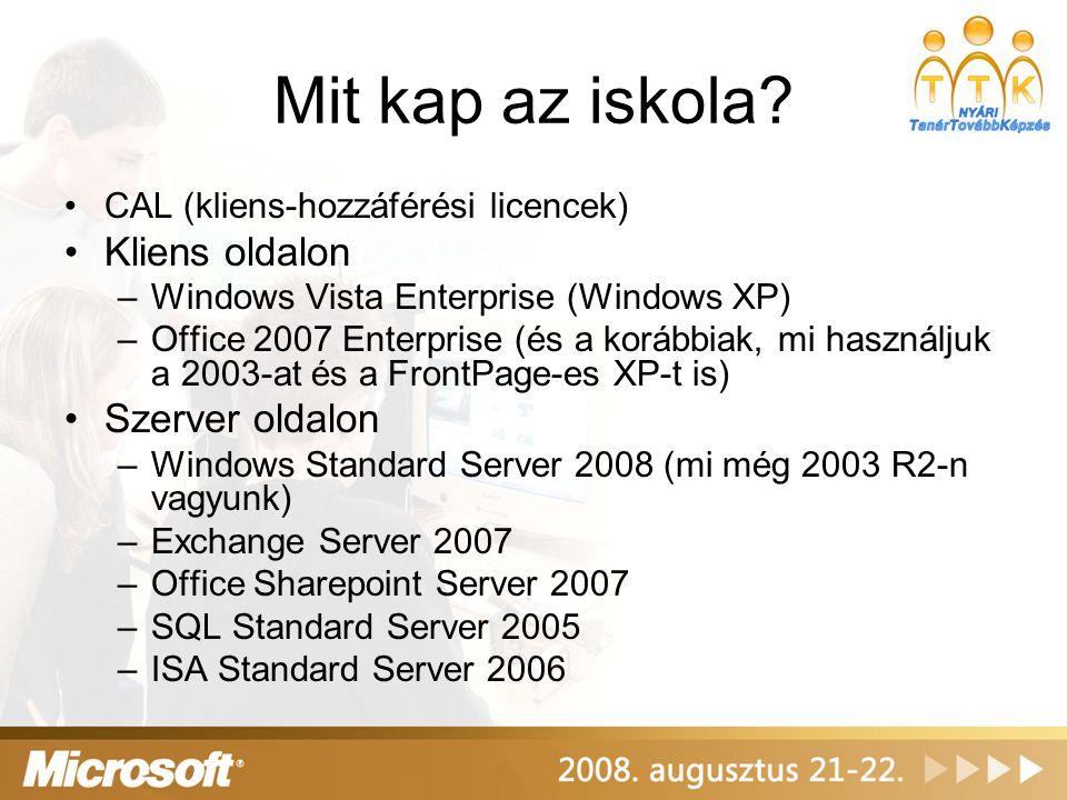 Mit kap az iskola? •CAL (kliens-hozzáférési licencek) •Kliens oldalon –Windows Vista Enterprise (Windows XP) –Office 2007 Enterprise (és a korábbiak,