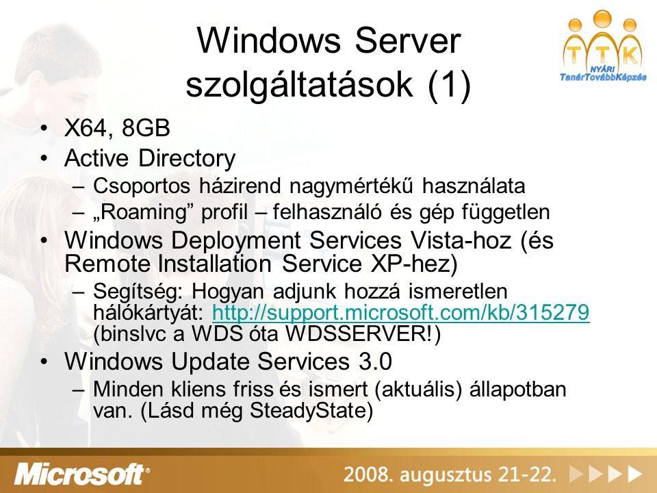 Windows Server szolgáltatások (2) •Fájlmegosztás kvótázással, csoportkvótákkal, fájlszűréssel •Nyomtatás (minden nyomtató TPC/IP, de a szerveren keresztül korlátozzuk és naplózzuk: http://www.papercut.com/?printlogger http://www.papercut.com/?printlogger •DHCP, DNS, WINS szolgáltatások •tanúsítványkiadó szolgáltatás •IAS (Radius server) – Wifi authentikációhoz •Internet Information Server