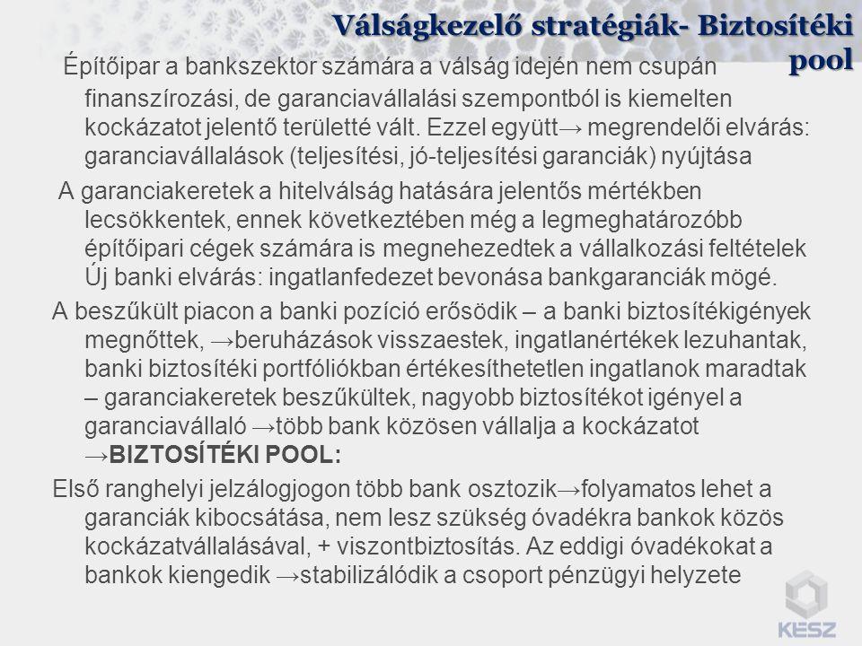 Válságkezelő stratégiák- Biztosítéki pool Építőipar a bankszektor számára a válság idején nem csupán finanszírozási, de garanciavállalási szempontból
