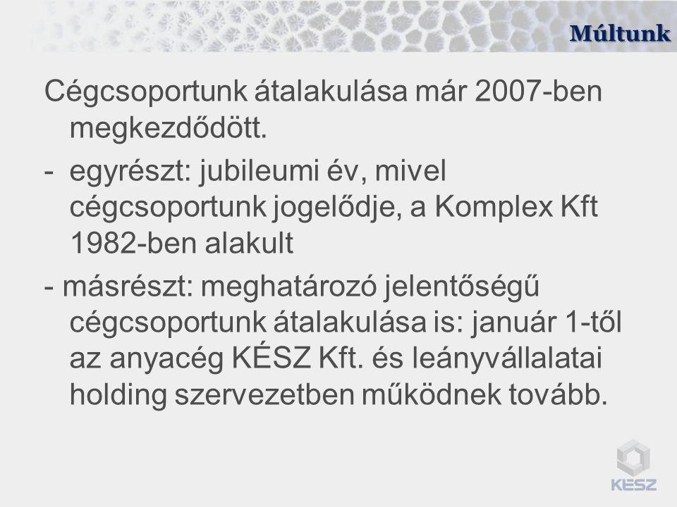 Múltunk Cégcsoportunk átalakulása már 2007-ben megkezdődött. -egyrészt: jubileumi év, mivel cégcsoportunk jogelődje, a Komplex Kft 1982-ben alakult -