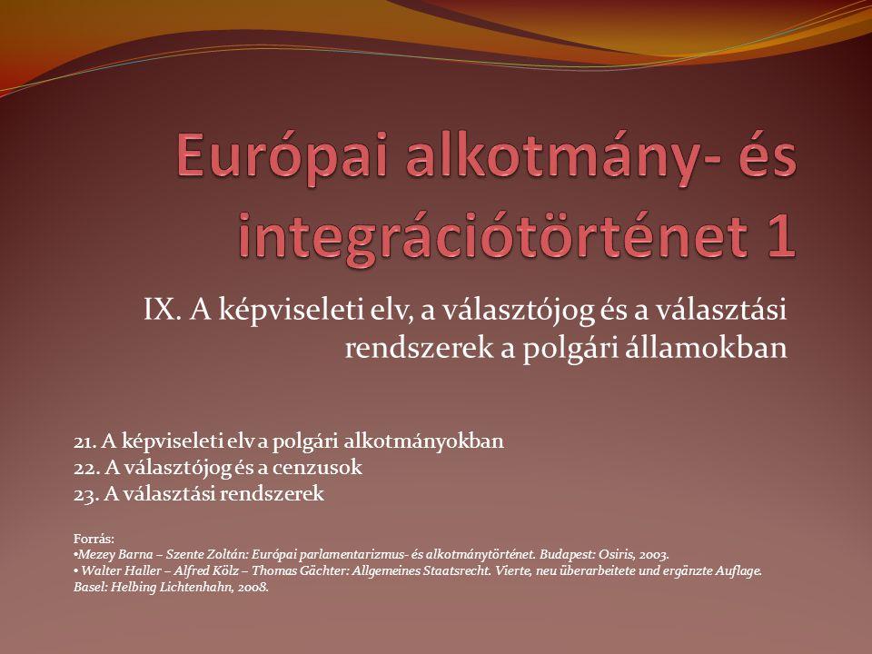 IX. A képviseleti elv, a választójog és a választási rendszerek a polgári államokban 21. A képviseleti elv a polgári alkotmányokban 22. A választójog