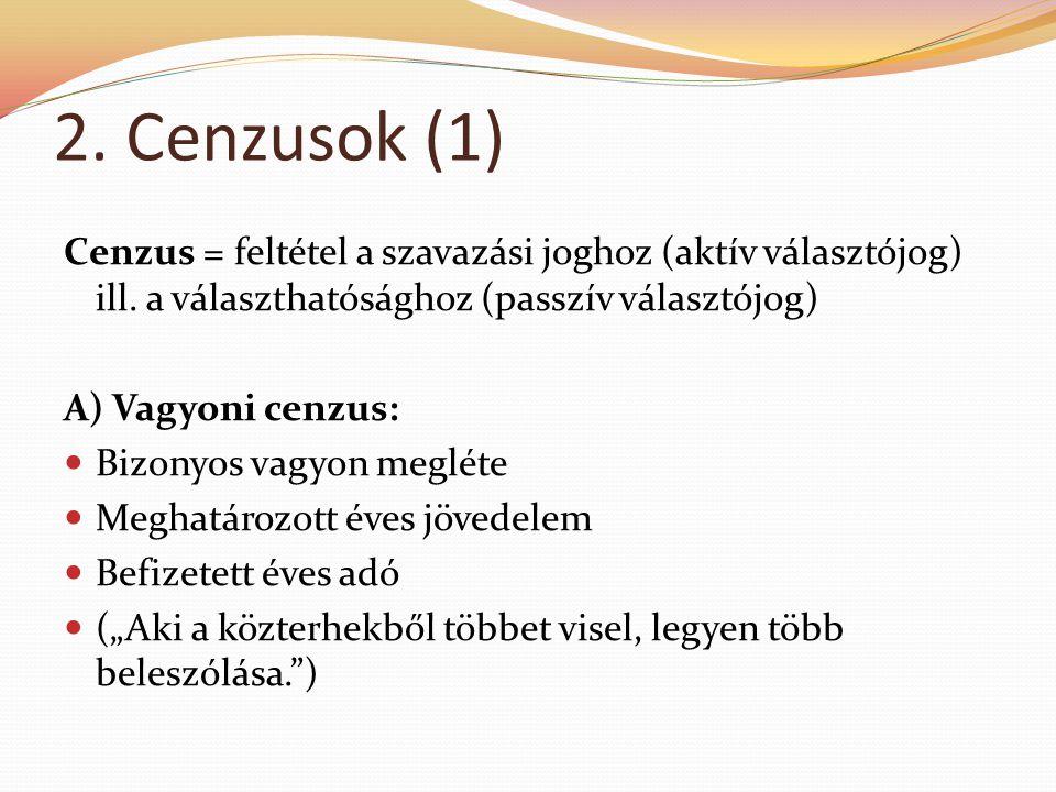 2. Cenzusok (1) Cenzus = feltétel a szavazási joghoz (aktív választójog) ill. a választhatósághoz (passzív választójog) A) Vagyoni cenzus:  Bizonyos