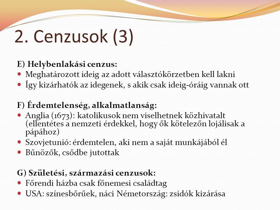 2. Cenzusok (3) E) Helybenlakási cenzus:  Meghatározott ideig az adott választókörzetben kell lakni  Így kizárhatók az idegenek, s akik csak ideig-ó