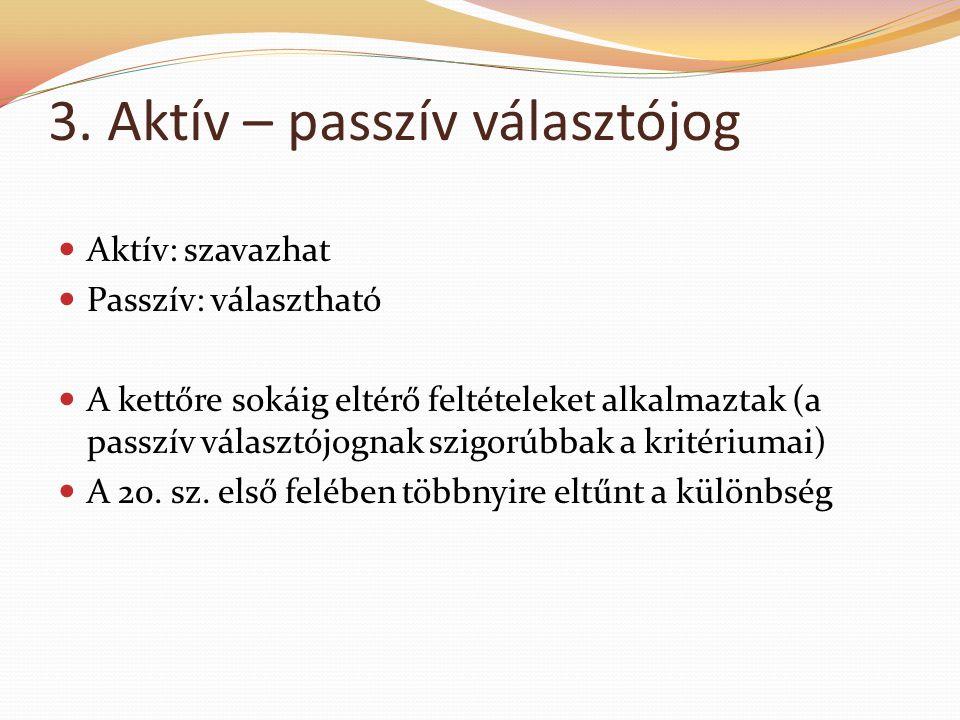 3. Aktív – passzív választójog  Aktív: szavazhat  Passzív: választható  A kettőre sokáig eltérő feltételeket alkalmaztak (a passzív választójognak