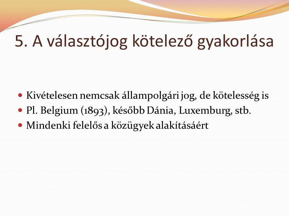 5. A választójog kötelező gyakorlása  Kivételesen nemcsak állampolgári jog, de kötelesség is  Pl. Belgium (1893), később Dánia, Luxemburg, stb.  Mi
