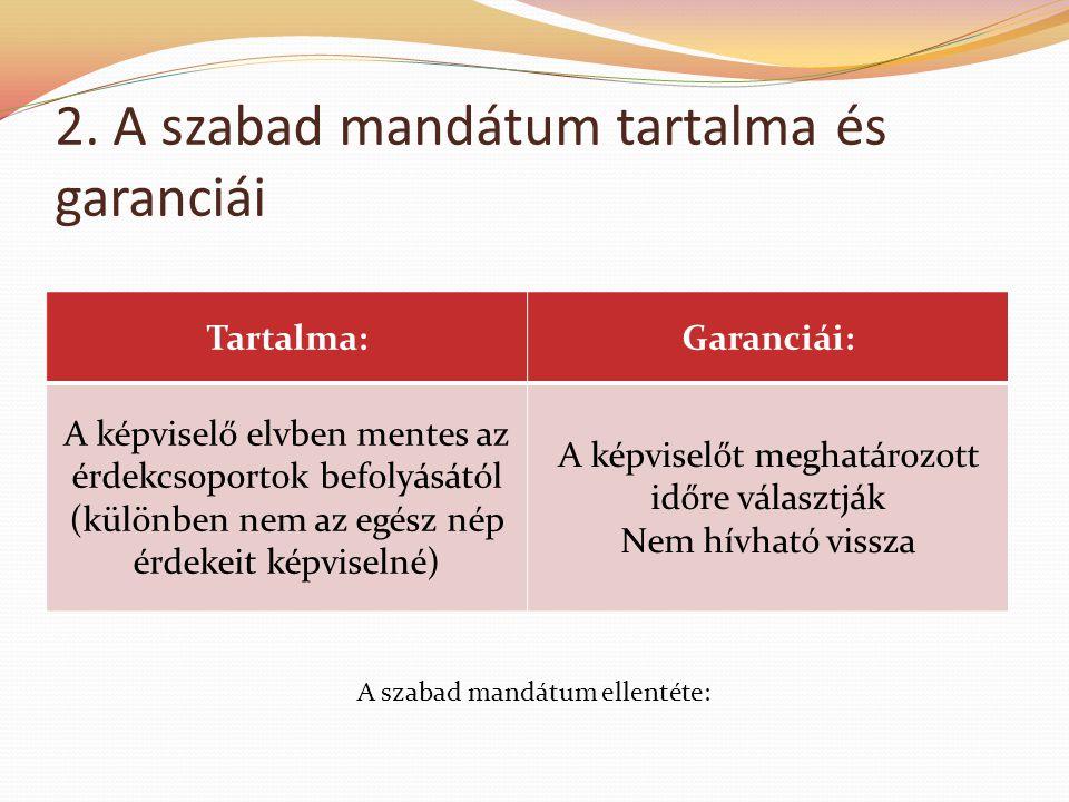 2. A szabad mandátum tartalma és garanciái Tartalma:Garanciái: A képviselő elvben mentes az érdekcsoportok befolyásától (különben nem az egész nép érd