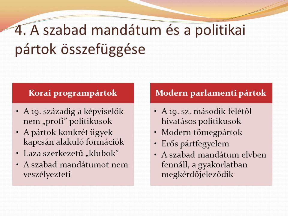 """4. A szabad mandátum és a politikai pártok összefüggése Korai programpártok •A 19. századig a képviselők nem """"profi"""" politikusok •A pártok konkrét ügy"""