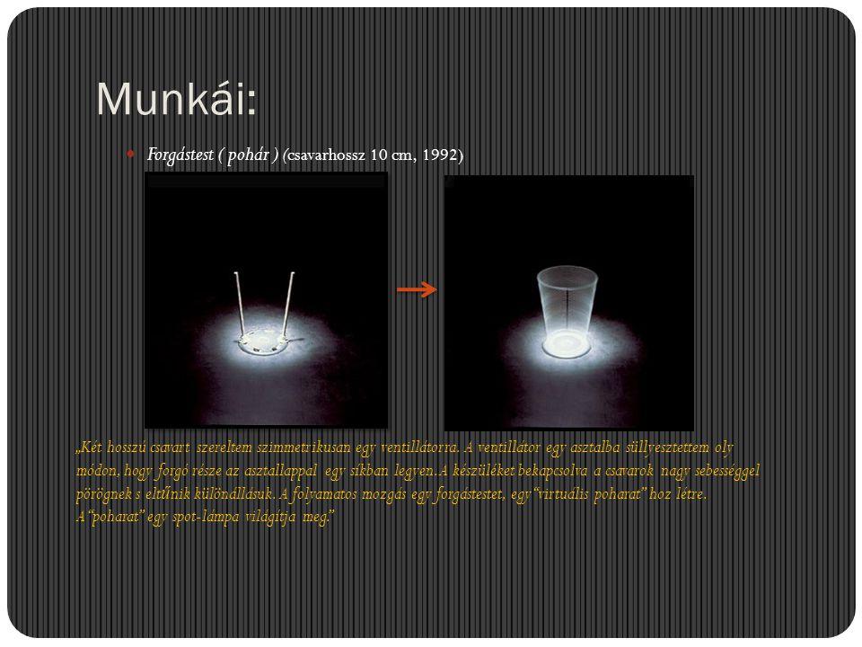 """Munkái:  Forgástest ( pohár ) (csavarhossz 10 cm, 1992) """"Két hosszú csavart szereltem szimmetrikusan egy ventillátorra. A ventillátor egy asztalba sü"""
