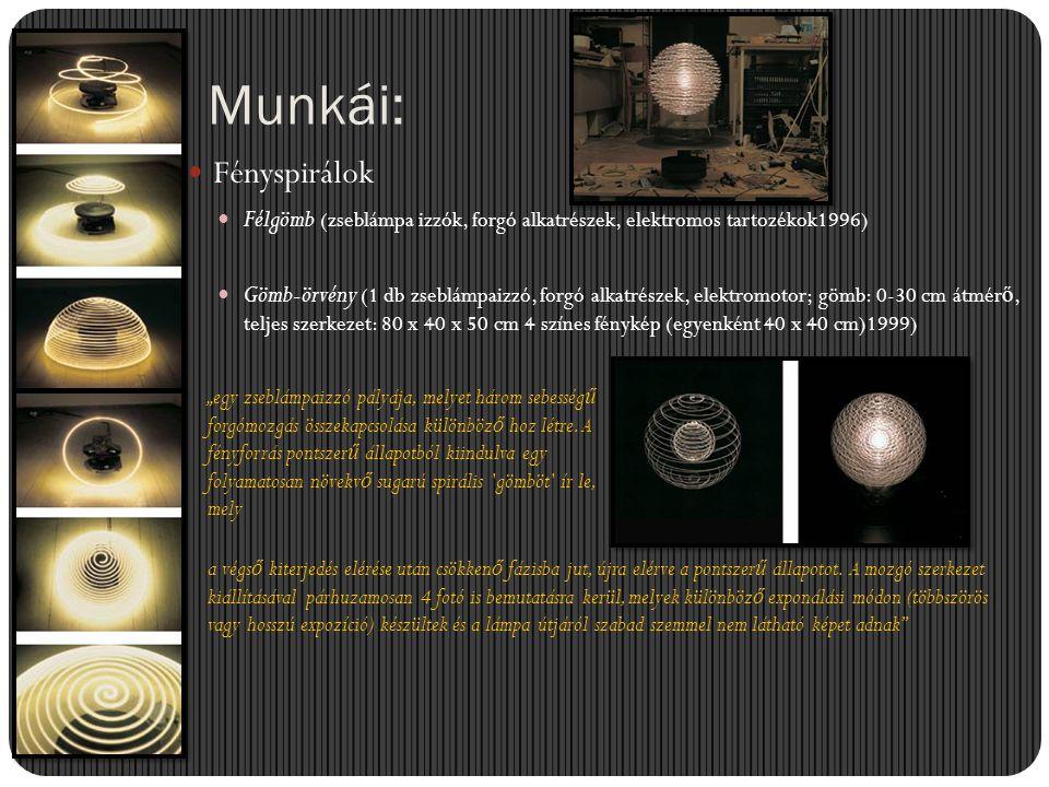 Munkái:  Fényspirálok  Félgömb (zseblámpa izzók, forgó alkatrészek, elektromos tartozékok1996)  Gömb-örvény (1 db zseblámpaizzó, forgó alkatrészek,