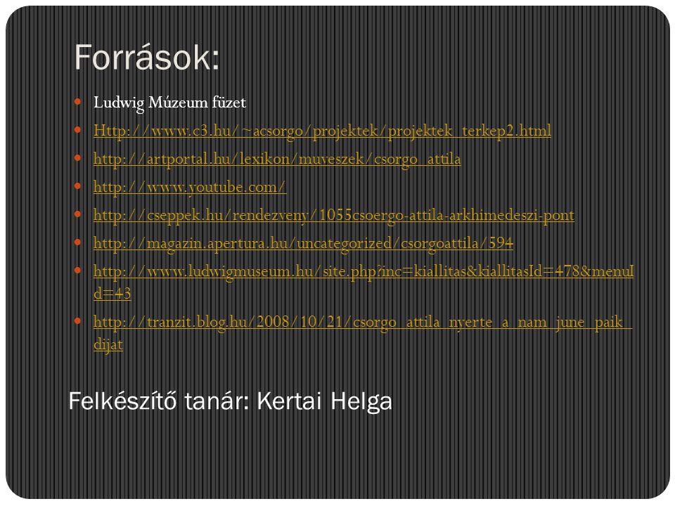 Források:  Ludwig Múzeum füzet  Http://www.c3.hu/~acsorgo/projektek/projektek_terkep2.html Http://www.c3.hu/~acsorgo/projektek/projektek_terkep2.htm