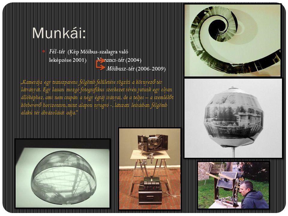 """Munkái:  Fél-tér (Kép Möibus-szalagra való leképzése 2001) Narancs-tér (2004) """"Kamerája egy transzparens félgömb felületére rögzíti a környez ő tér l"""