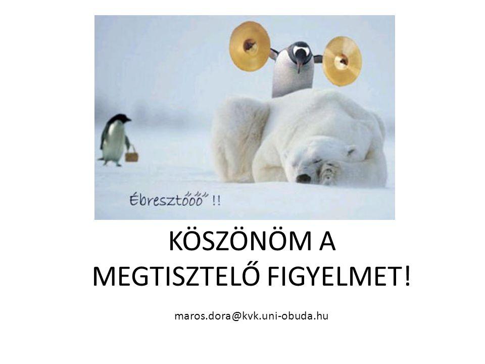 KÖSZÖNÖM A MEGTISZTELŐ FIGYELMET! maros.dora@kvk.uni-obuda.hu