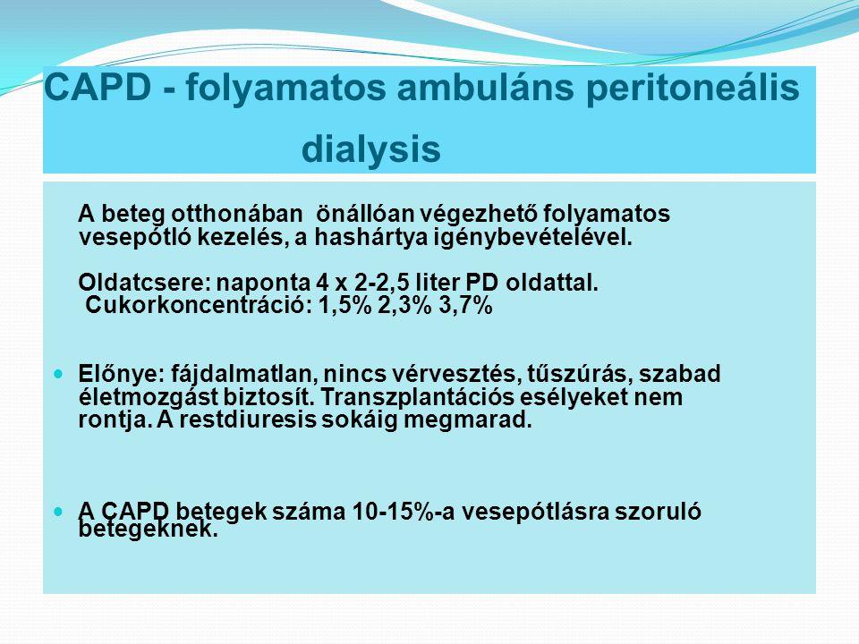 CAPD - folyamatos ambuláns peritoneális dialysis A beteg otthonában önállóan végezhető folyamatos vesepótló kezelés, a hashártya igénybevételével. Old