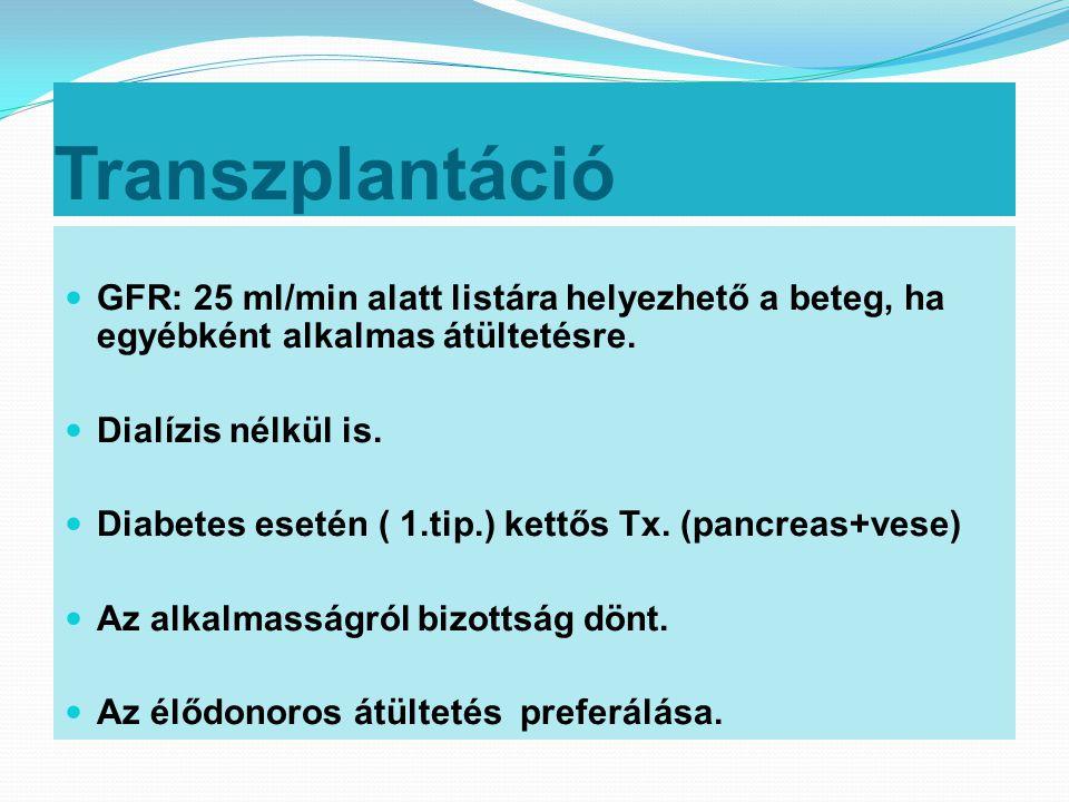 Transzplantáció  GFR: 25 ml/min alatt listára helyezhető a beteg, ha egyébként alkalmas átültetésre.  Dialízis nélkül is.  Diabetes esetén ( 1.tip.