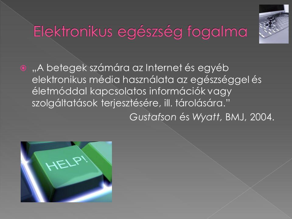 """ """"A betegek számára az Internet és egyéb elektronikus média használata az egészséggel és életmóddal kapcsolatos információk vagy szolgáltatások terje"""