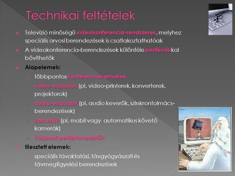 videokonferencia-rendszerek  Televízió minőségű videokonferencia-rendszerek, melyhez speciális orvosi berendezések is csatlakoztathatóak perifériák 