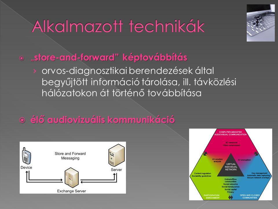 """ """" store-and-forward"""" képtovábbítás › orvos-diagnosztikai berendezések által begyűjtött információ tárolása, ill. távközlési hálózatokon át történő t"""