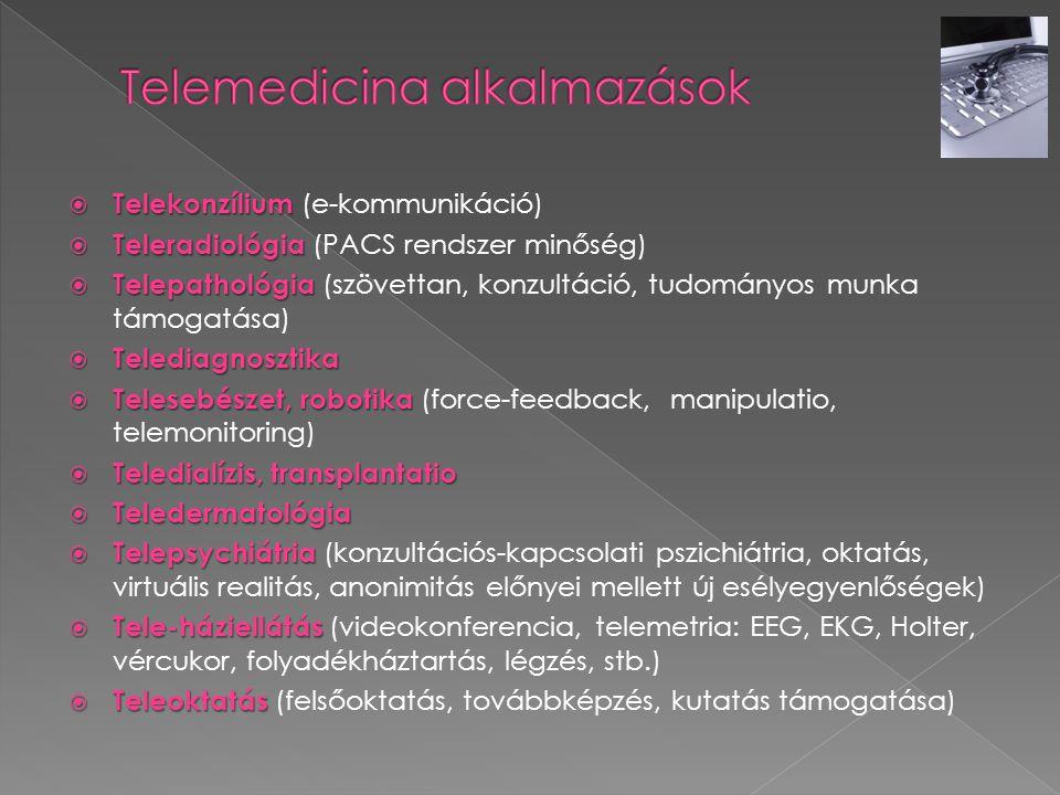  Telekonzílium  Telekonzílium (e-kommunikáció)  Teleradiológia  Teleradiológia (PACS rendszer minőség)  Telepathológia  Telepathológia (szövetta