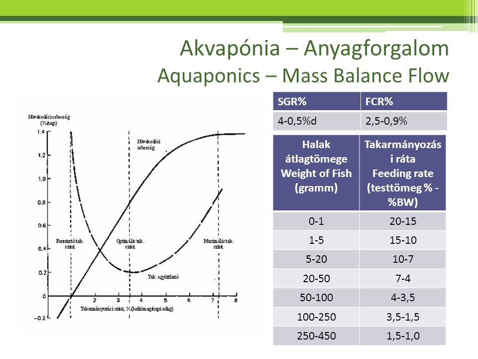 Akvapónia – Anyagforgalom Aquaponics – Mass Balance Flow SGR%FCR% 4-0,5%d2,5-0,9% Halak átlagtömege Weight of Fish (gramm) Takarmányozás i ráta Feedin