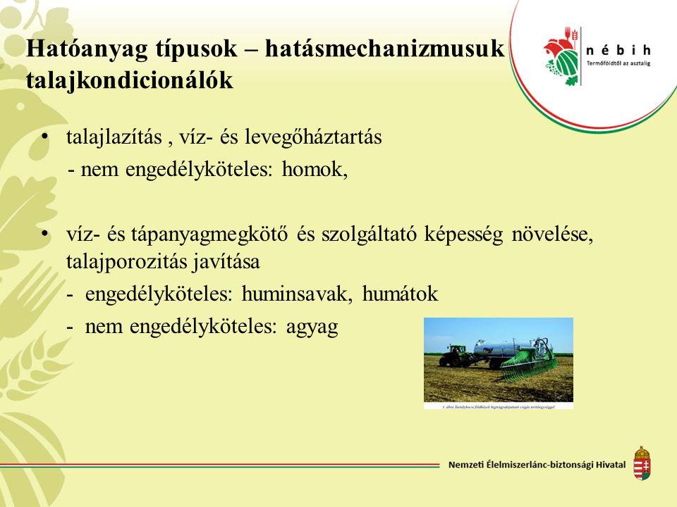 Hatóanyag típusok – hatásmechanizmusuk talajkondicionálók • talajlazítás, víz- és levegőháztartás - nem engedélyköteles: homok, • víz- és tápanyagmegk