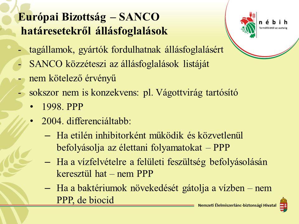 Európai Bizottság – SANCO határesetekről állásfoglalások -tagállamok, gyártók fordulhatnak állásfoglalásért -SANCO közzéteszi az állásfoglalások listá