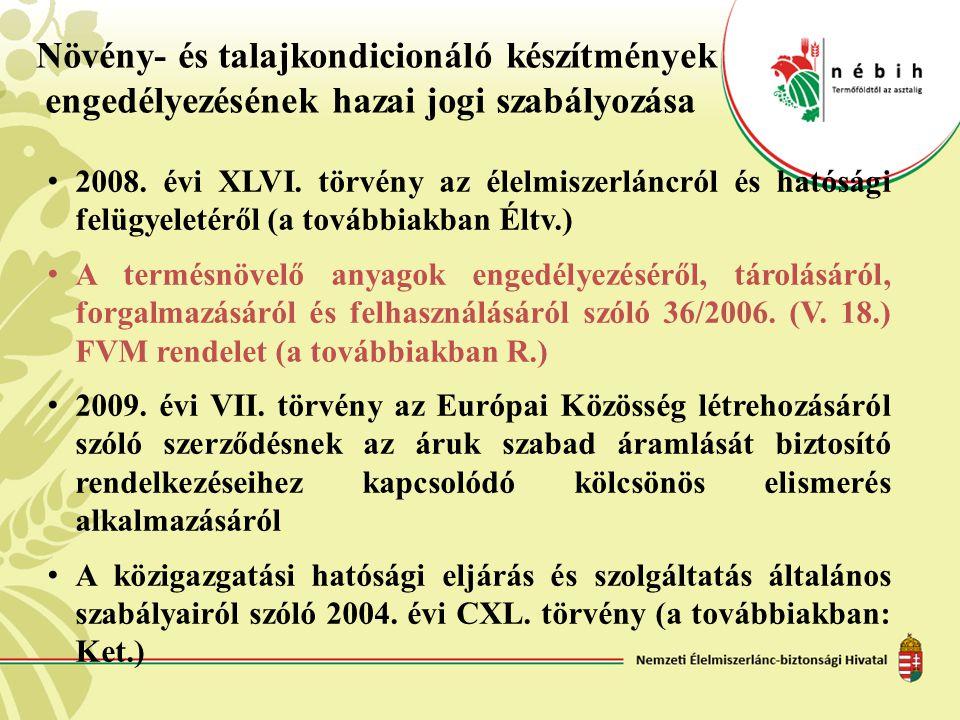 Növény- és talajkondicionáló készítmények engedélyezésének hazai jogi szabályozása • 2008. évi XLVI. törvény az élelmiszerláncról és hatósági felügyel