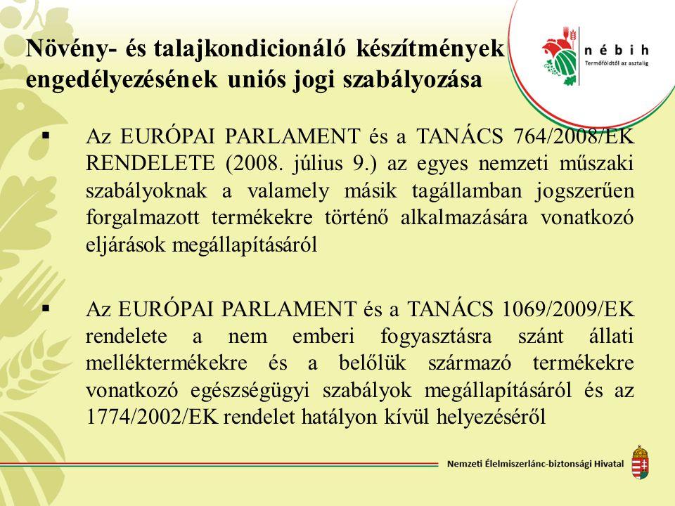 Növény- és talajkondicionáló készítmények engedélyezésének uniós jogi szabályozása  Az EURÓPAI PARLAMENT és a TANÁCS 764/2008/EK RENDELETE (2008. júl