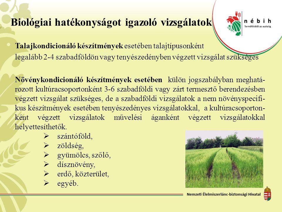 Biológiai hatékonyságot igazoló vizsgálatok Talajkondicionáló készítmények esetében talajtípusonként legalább 2-4 szabadföldön vagy tenyészedényben vé