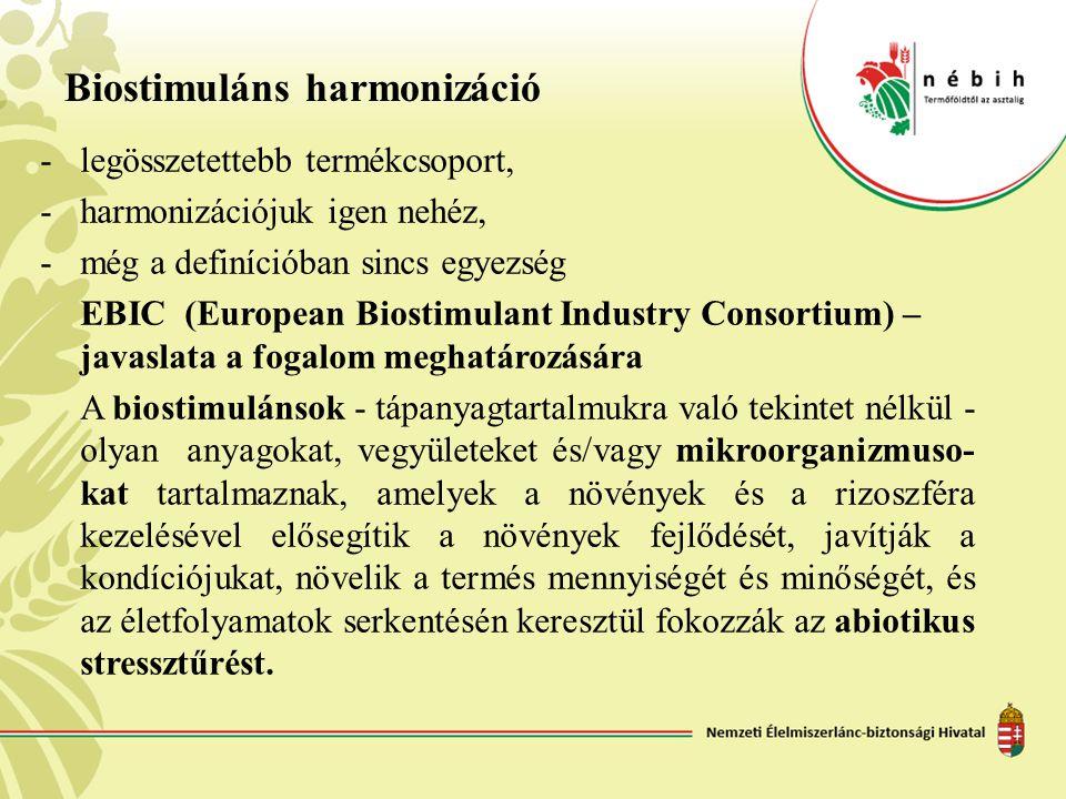 Biostimuláns harmonizáció -legösszetettebb termékcsoport, -harmonizációjuk igen nehéz, -még a definícióban sincs egyezség EBIC (European Biostimulant