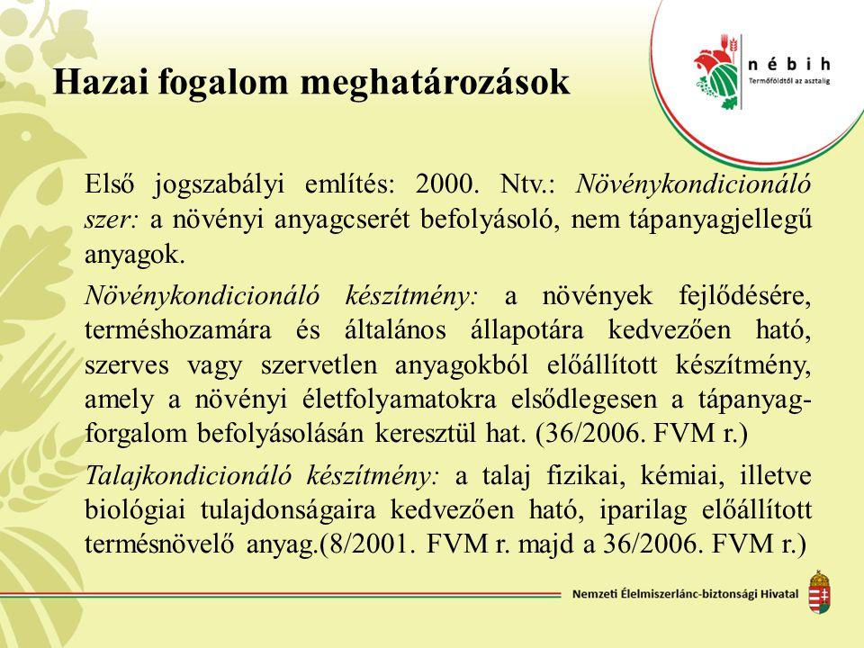 Hazai fogalom meghatározások Első jogszabályi említés: 2000. Ntv.: Növénykondicionáló szer: a növényi anyagcserét befolyásoló, nem tápanyagjellegű any