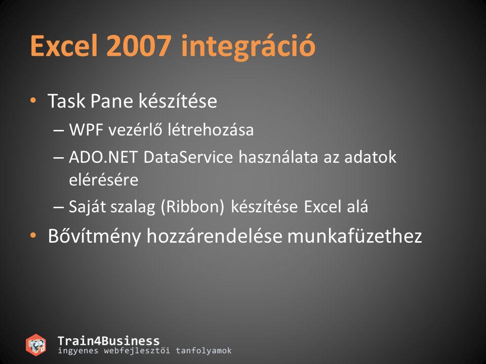 Excel 2007 integráció • Task Pane készítése – WPF vezérlő létrehozása – ADO.NET DataService használata az adatok elérésére – Saját szalag (Ribbon) kés