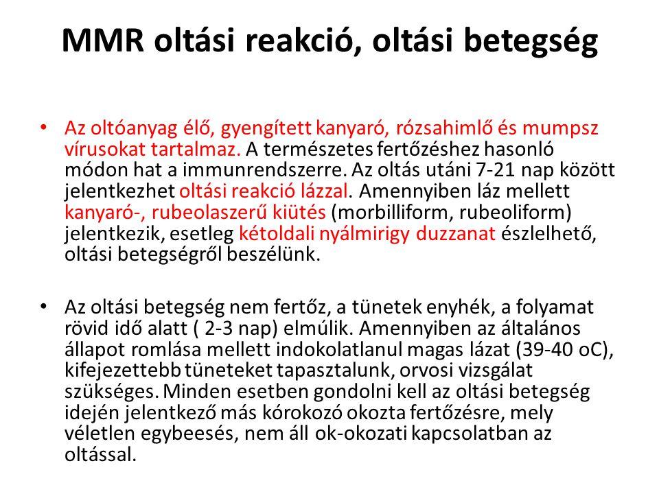 MMR oltási reakció, oltási betegség • Az oltóanyag élő, gyengített kanyaró, rózsahimlő és mumpsz vírusokat tartalmaz. A természetes fertőzéshez hasonl