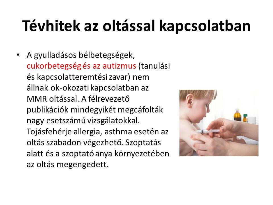 Tévhitek az oltással kapcsolatban • A gyulladásos bélbetegségek, cukorbetegség és az autizmus (tanulási és kapcsolatteremtési zavar) nem állnak ok-oko