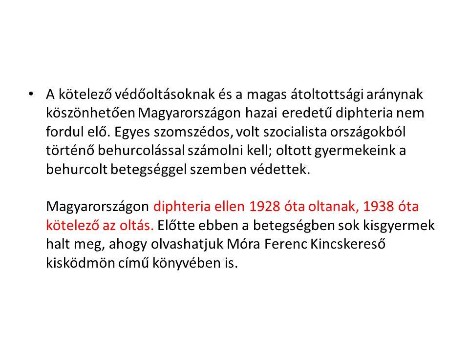 • A kötelező védőoltásoknak és a magas átoltottsági aránynak köszönhetően Magyarországon hazai eredetű diphteria nem fordul elő. Egyes szomszédos, vol