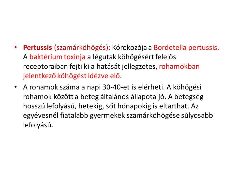 • Pertussis (szamárköhögés): Kórokozója a Bordetella pertussis. A baktérium toxinja a légutak köhögésért felelős receptoraiban fejti ki a hatását jell