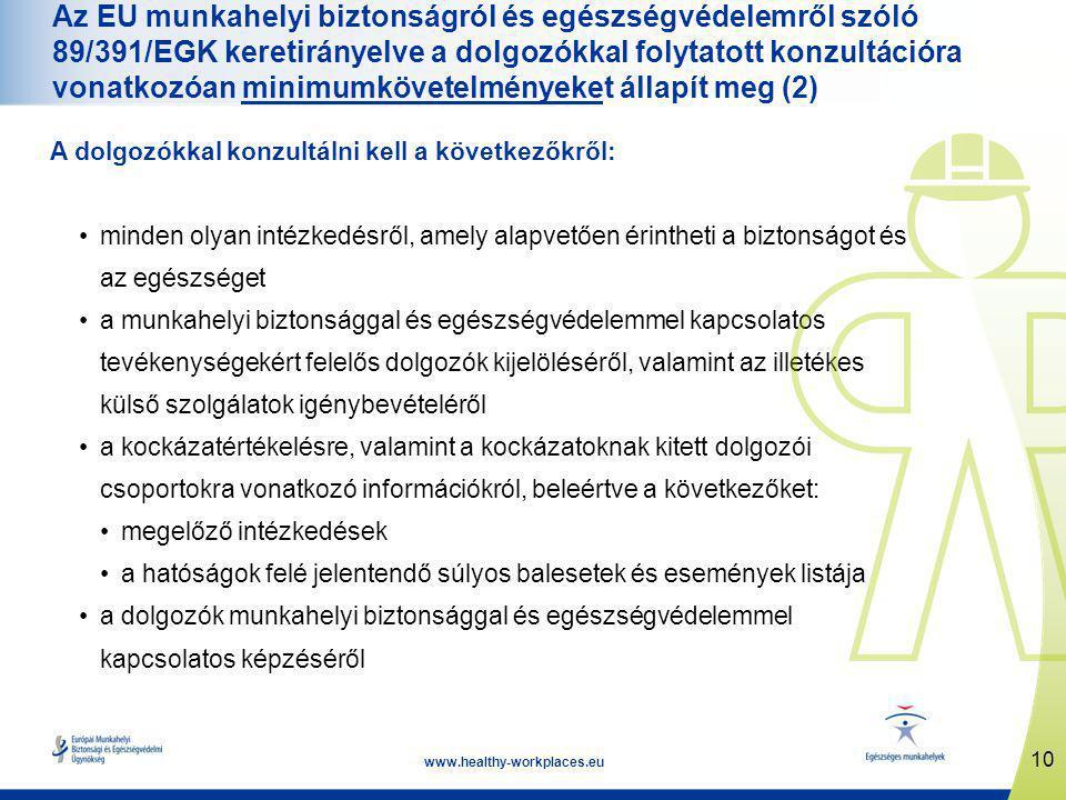 10 www.healthy-workplaces.eu Az EU munkahelyi biztonságról és egészségvédelemről szóló 89/391/EGK keretirányelve a dolgozókkal folytatott konzultációra vonatkozóan minimumkövetelményeket állapít meg (2) A dolgozókkal konzultálni kell a következőkről: •minden olyan intézkedésről, amely alapvetően érintheti a biztonságot és az egészséget •a munkahelyi biztonsággal és egészségvédelemmel kapcsolatos tevékenységekért felelős dolgozók kijelöléséről, valamint az illetékes külső szolgálatok igénybevételéről •a kockázatértékelésre, valamint a kockázatoknak kitett dolgozói csoportokra vonatkozó információkról, beleértve a következőket: •megelőző intézkedések •a hatóságok felé jelentendő súlyos balesetek és események listája •a dolgozók munkahelyi biztonsággal és egészségvédelemmel kapcsolatos képzéséről
