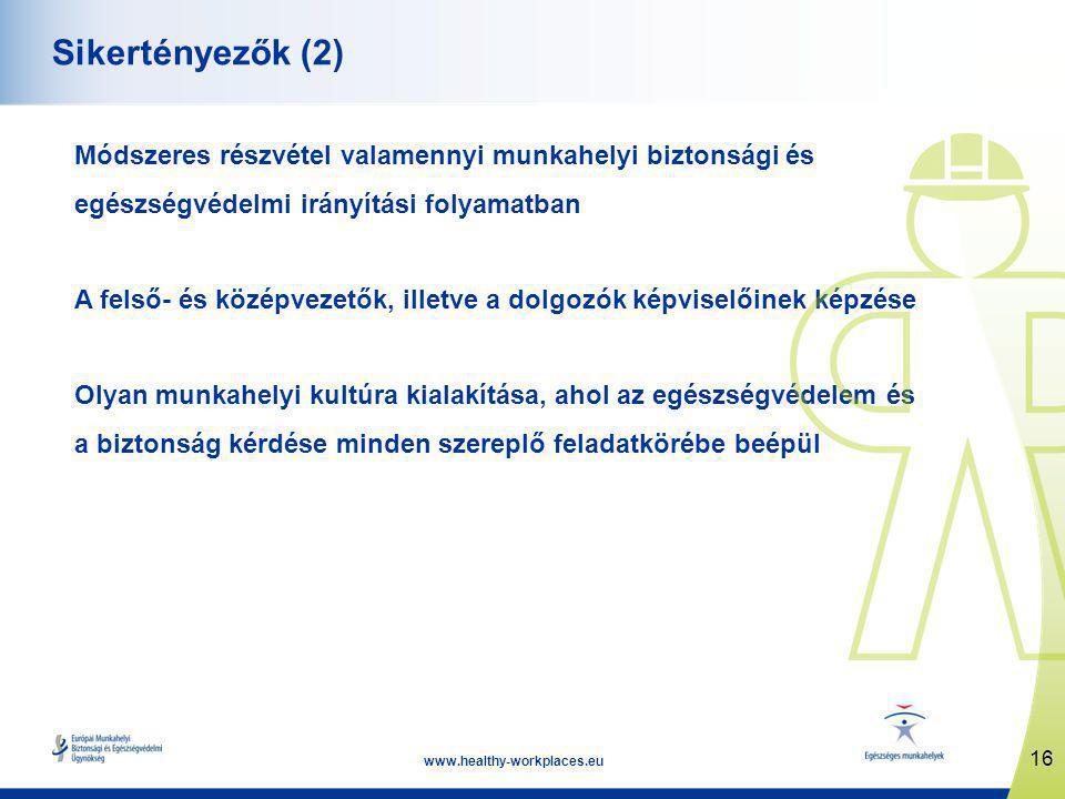 16 www.healthy-workplaces.eu Sikertényezők (2) Módszeres részvétel valamennyi munkahelyi biztonsági és egészségvédelmi irányítási folyamatban A felső- és középvezetők, illetve a dolgozók képviselőinek képzése Olyan munkahelyi kultúra kialakítása, ahol az egészségvédelem és a biztonság kérdése minden szereplő feladatkörébe beépül