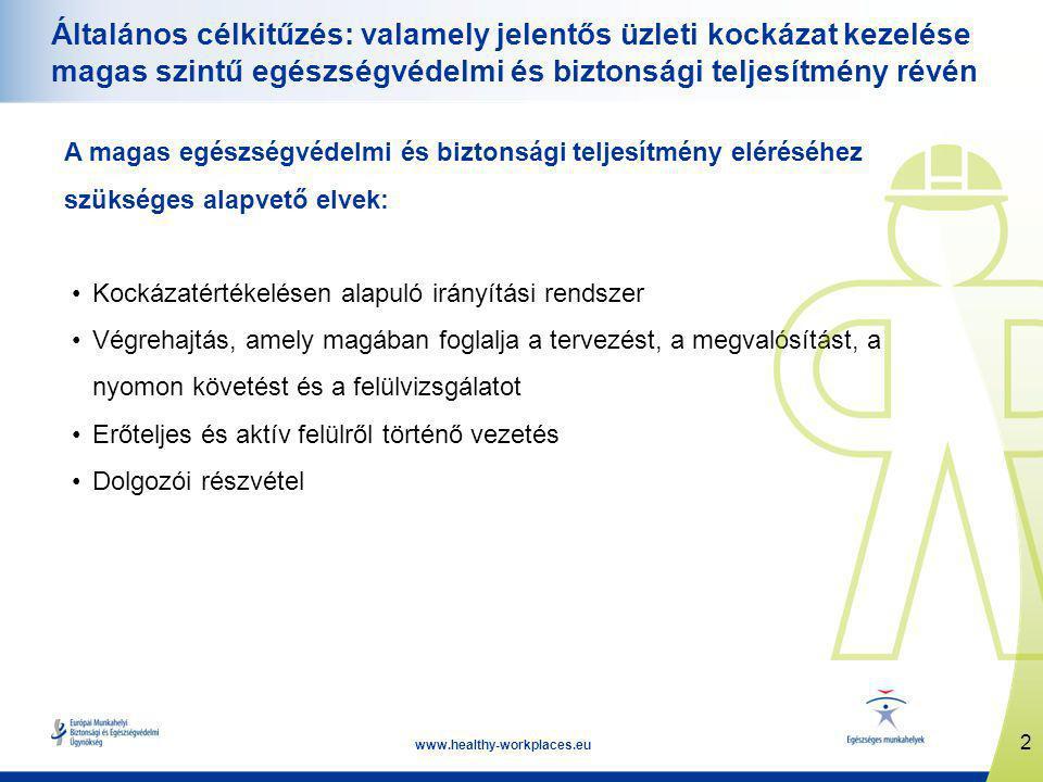 2 www.healthy-workplaces.eu Általános célkitűzés: valamely jelentős üzleti kockázat kezelése magas szintű egészségvédelmi és biztonsági teljesítmény révén A magas egészségvédelmi és biztonsági teljesítmény eléréséhez szükséges alapvető elvek: •Kockázatértékelésen alapuló irányítási rendszer •Végrehajtás, amely magában foglalja a tervezést, a megvalósítást, a nyomon követést és a felülvizsgálatot •Erőteljes és aktív felülről történő vezetés •Dolgozói részvétel