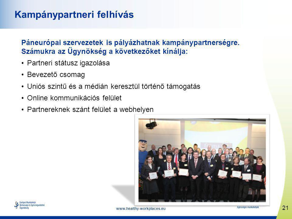 www.healthy-workplaces.eu Páneurópai szervezetek is pályázhatnak kampánypartnerségre.