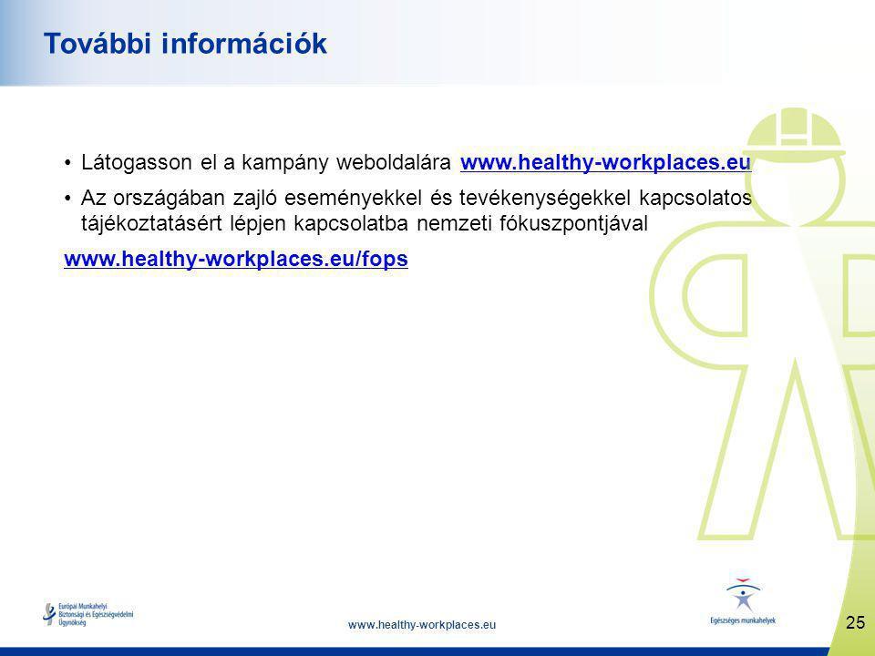 www.healthy-workplaces.eu •Látogasson el a kampány weboldalára www.healthy-workplaces.euwww.healthy-workplaces.eu •Az országában zajló eseményekkel és tevékenységekkel kapcsolatos tájékoztatásért lépjen kapcsolatba nemzeti fókuszpontjával www.healthy-workplaces.eu/fops 25 További információk